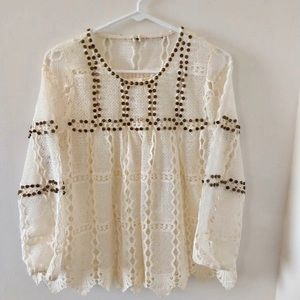 New Maeve Anthropology Lace Detail Sheer Top